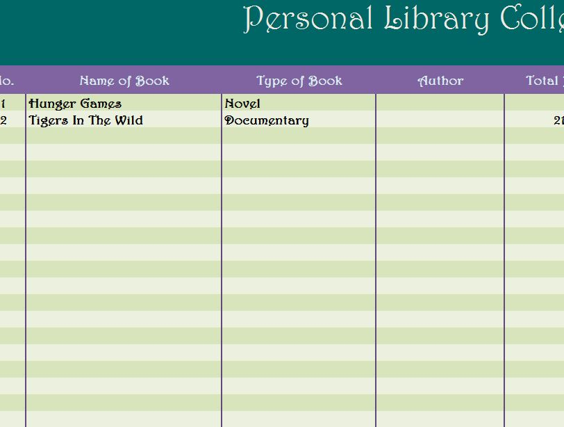 Personal Library Collection  My Excel Templates