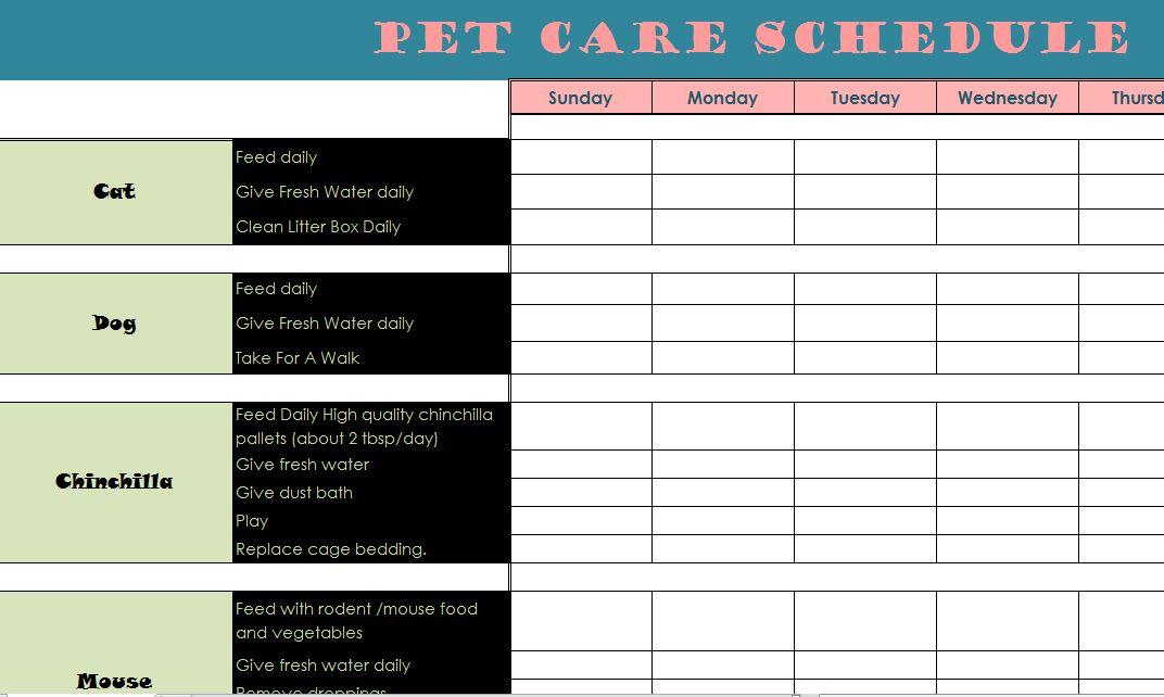 Pet Care Schedule  My Excel Templates