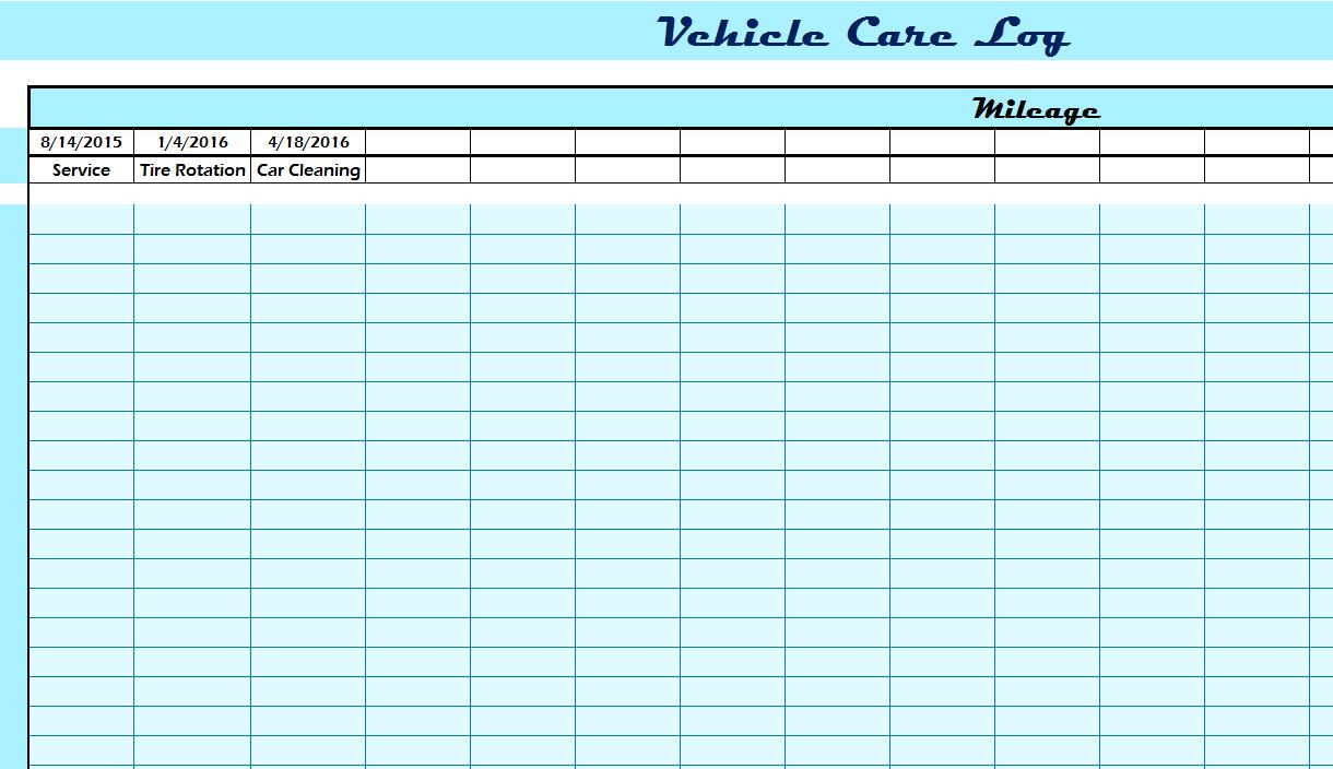 Vehicle Care Log  My Excel Templates
