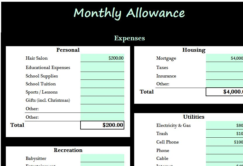 Monthly Allowance Template  My Excel Templates
