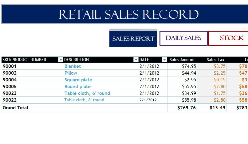 sales inventory template