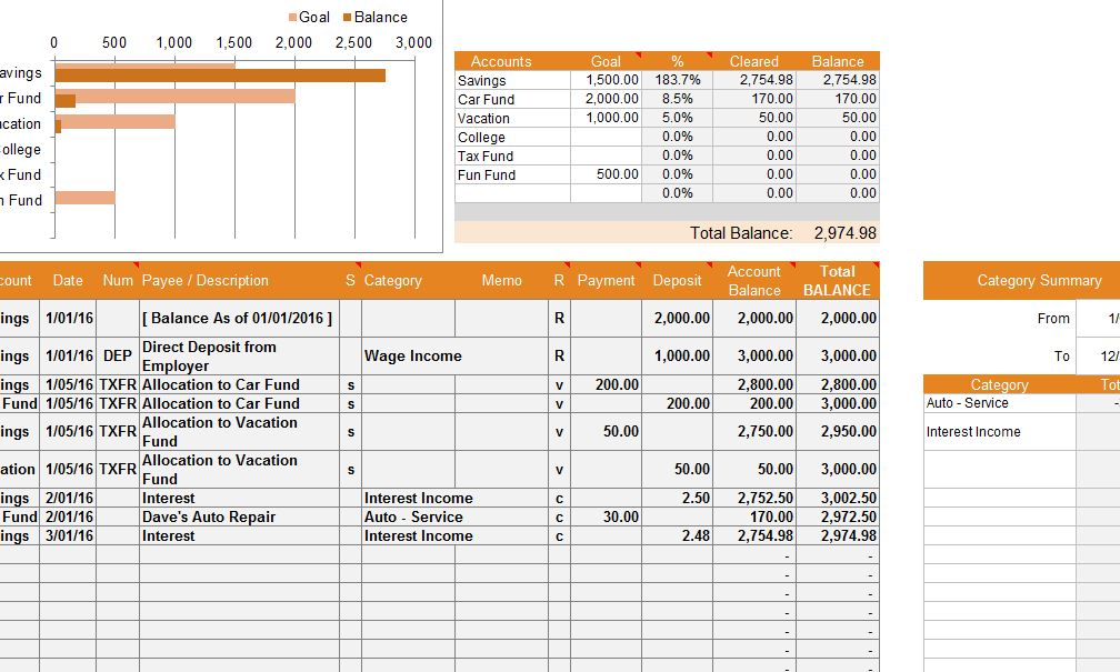 Financial Account Template  My Excel Templates