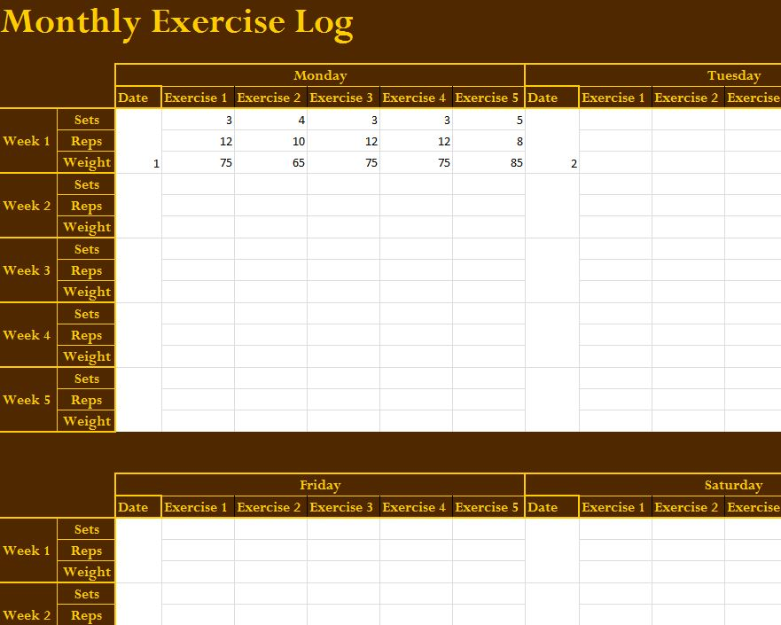 Monthly Exercise Log  My Excel Templates
