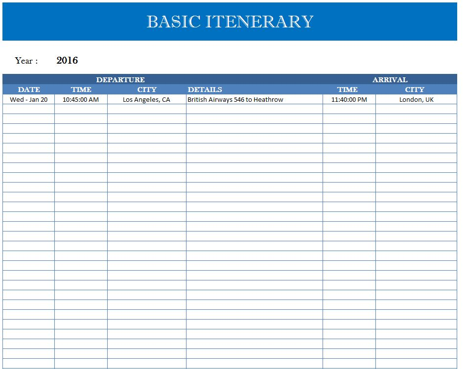 Travel Quick Sheet My Excel Templates