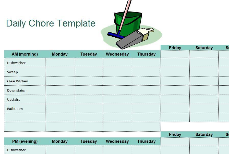 Chore Sheet Checklist My Excel Templates