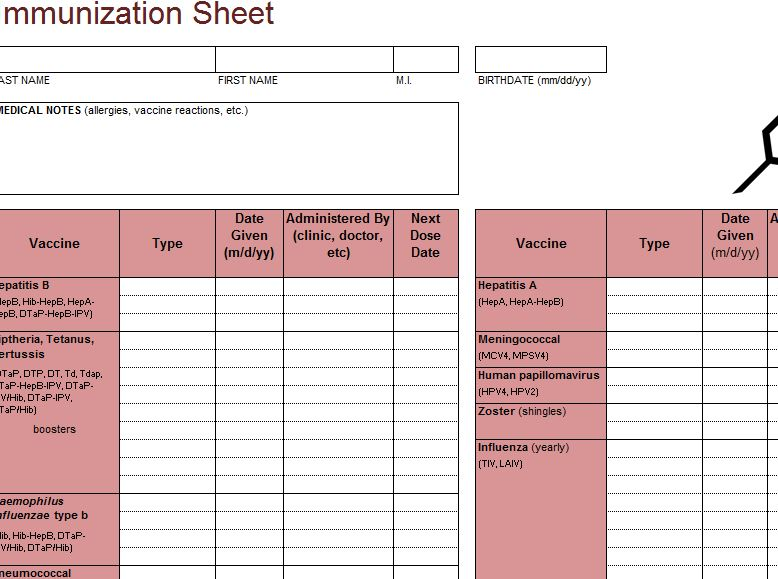 Immunization Template Tracker  My Excel Templates