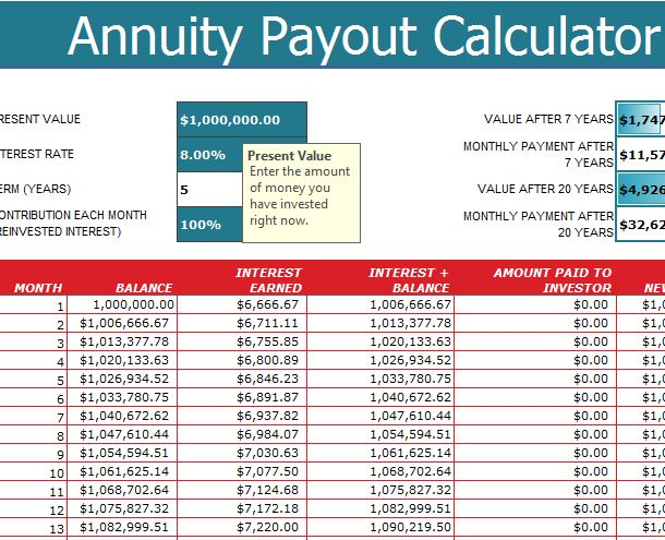 Annuity Payout Calculator  My Excel Templates