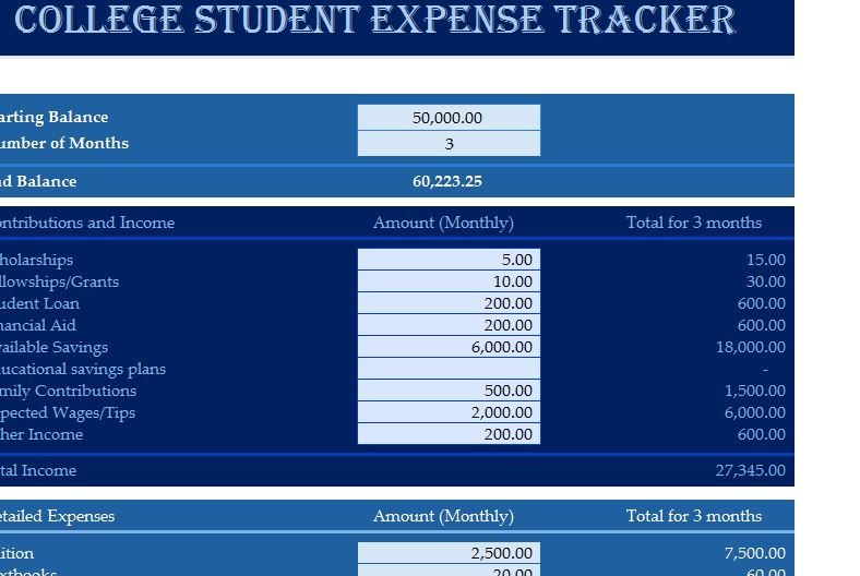 College Student Expense Tracker  My Excel Templates