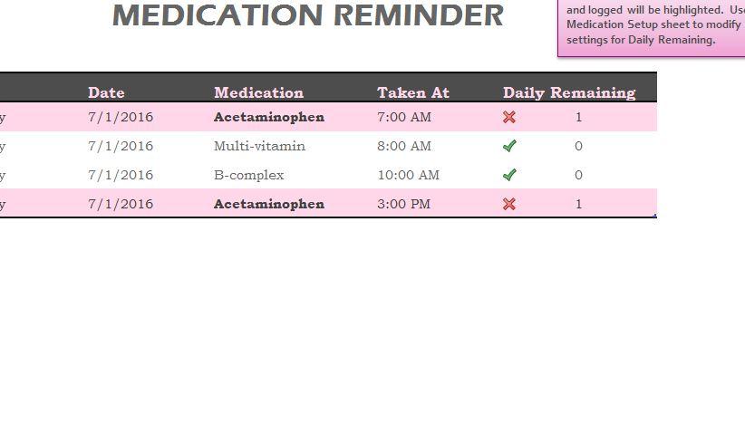 Medication Reminder Sheet  My Excel Templates