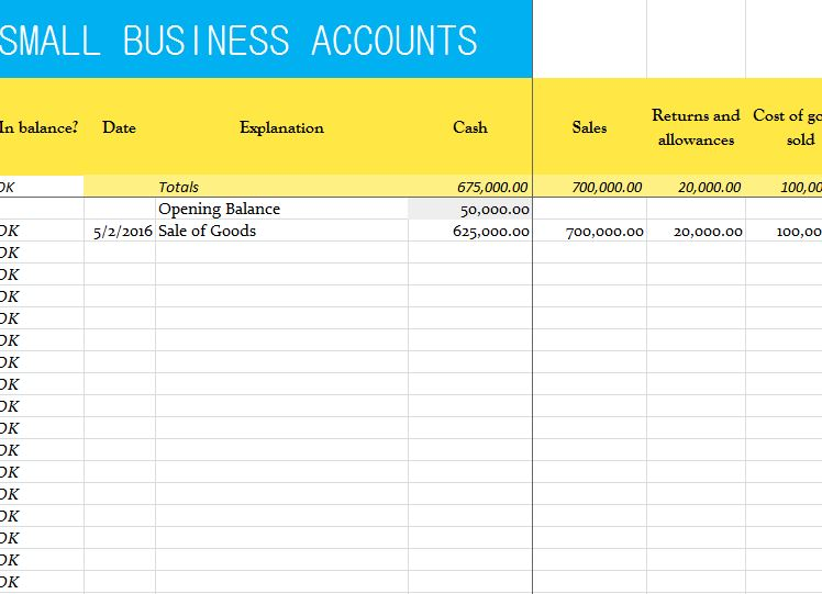 Small Business Accounts Sheet  My Excel Templates