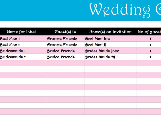 Wedding Guest List Register My Excel Templates