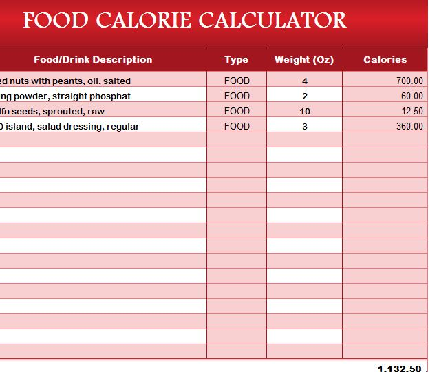Food Calorie Calculator  My Excel Templates