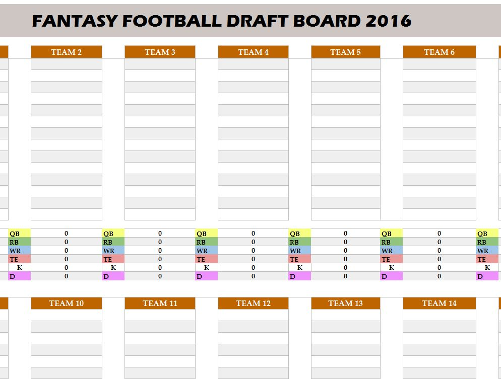 Fantasy Football 2016 Draft Board  My Excel Templates