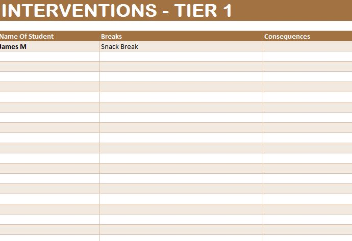 Student Intervention Template  My Excel Templates