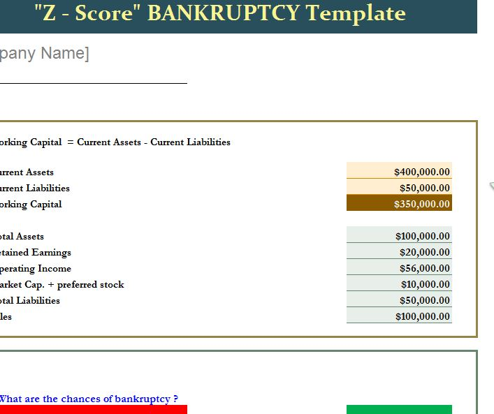 ZScore Bankruptcy Template and Instructional Guide