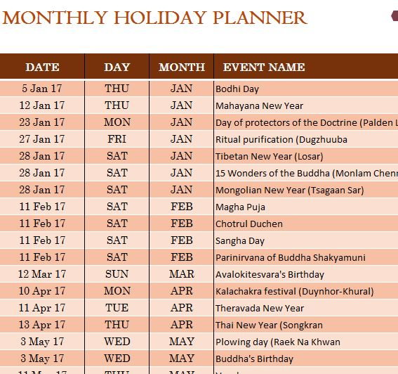 Buddhist Holiday Calendar  My Excel Templates