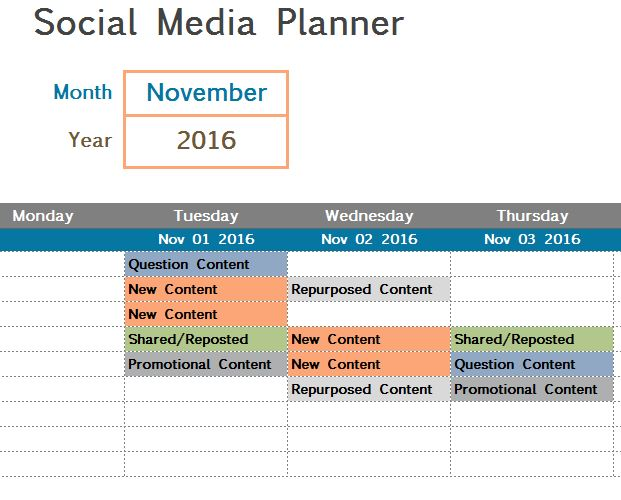 Social Media Planner  My Excel Templates