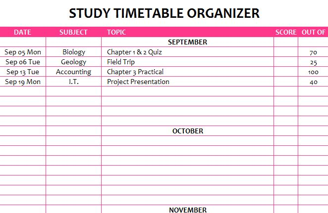 Study Timetable Organizer  My Excel Templates