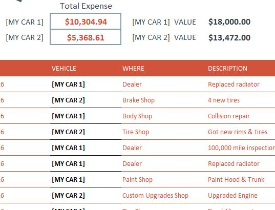 Vehicle Expense Tracker  My Excel Templates