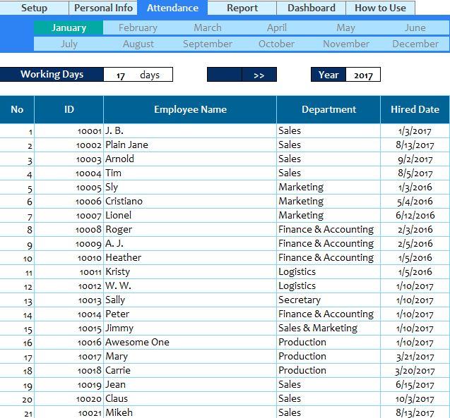 Employee Attendance Spreadsheet  My Excel Templates