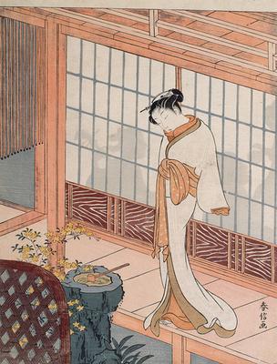 Haronobu Suzuki, courtisane sur l'engawa, période Edo (1603-1868) musée Guimet