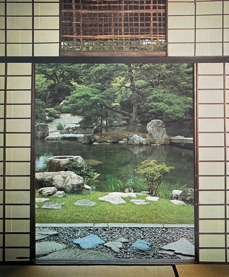 Grève rocheuse aperçue de la Deuxième salle du Shokin-tei, Katsura