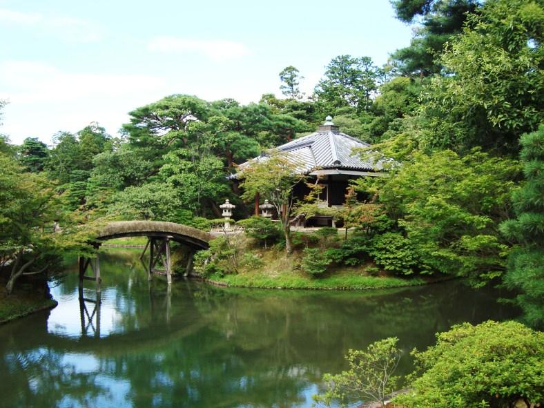 Villa Katsura, vue fragmentée de l'étang