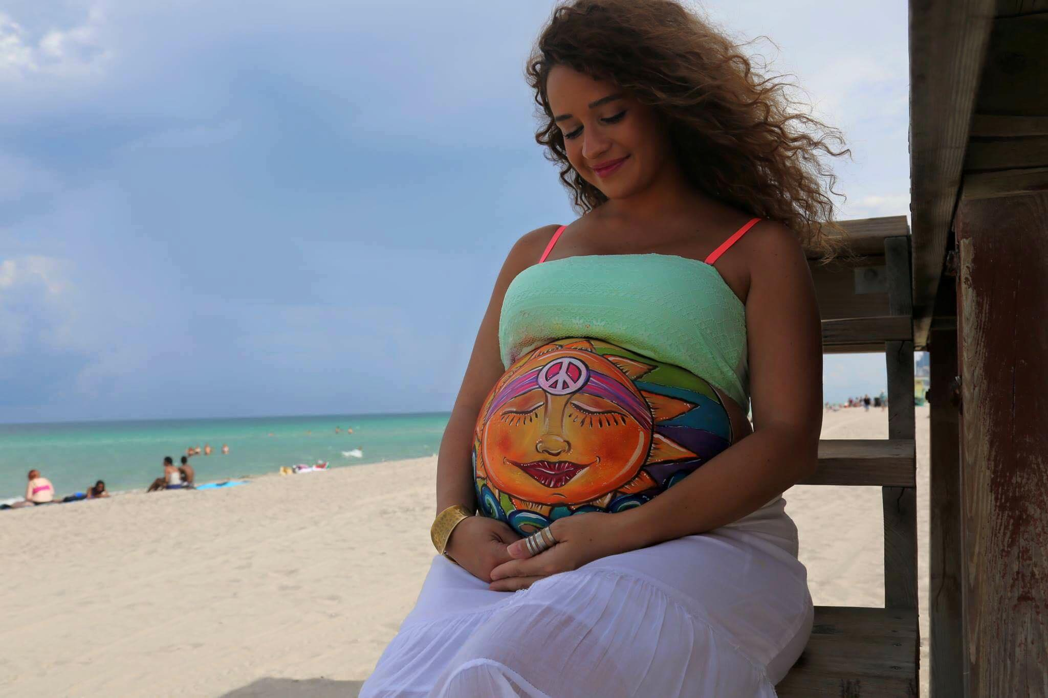 Belly Painting Beach Maternity Shoot