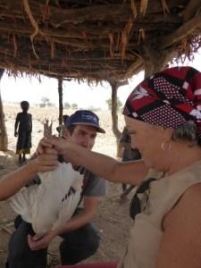Receiving chicken #3 (photo Laureen Lund)