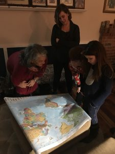 Looking at the map with my great niece Elsa and great nephew Isaiah.