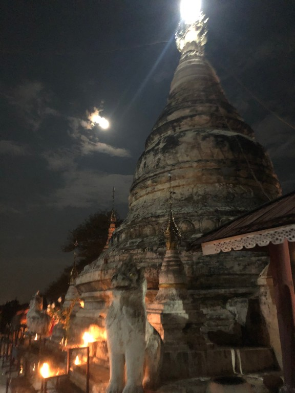 Full moon over Temple Bagan Myanmar