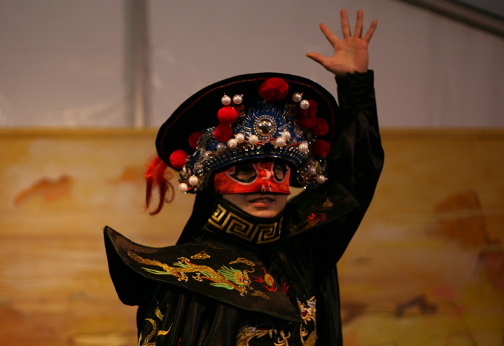 8 Face Mask Changing Dance (Bian Lian) - Half Mask - (Red - Fire element)