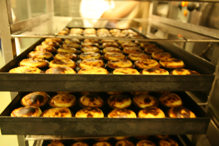 The freshly baked Portuguese Egg Tarts