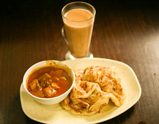 The Meal - roti canai, mutton curry dip and teh terik