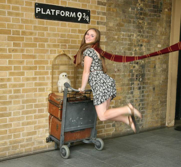 Flying at Platform 9¾ at Kings Cross Station. This Platform was described by JK Rowling's Harry Potter.