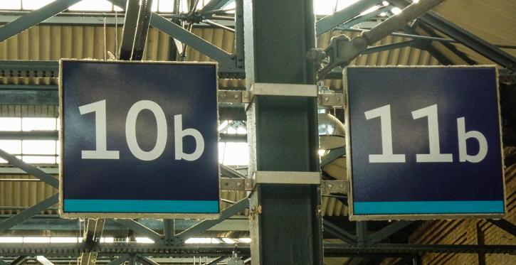 Platform 10b and 11b in Kings Cross Station