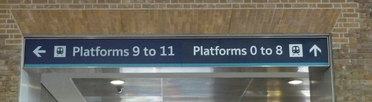 Sign showing the platform order in Kings Cross Station.