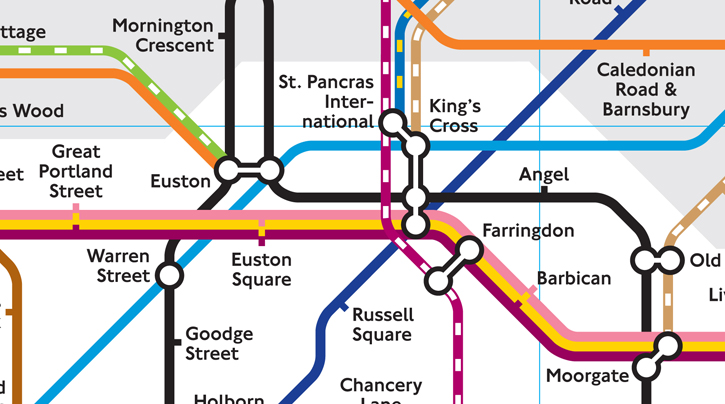 The Train and Tube Map showing the number of lines that connect to Kings Cross Station making it the best connected station in London.
