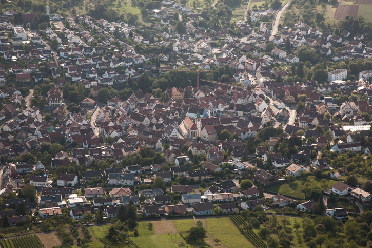 Aerial view of Neuffen Town from Neuffen Castle