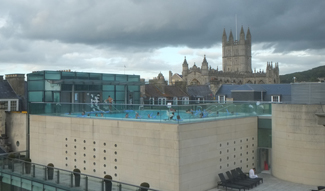 Thermae Bath Spa – open air pool. View from the Gainsborough Bath Spa