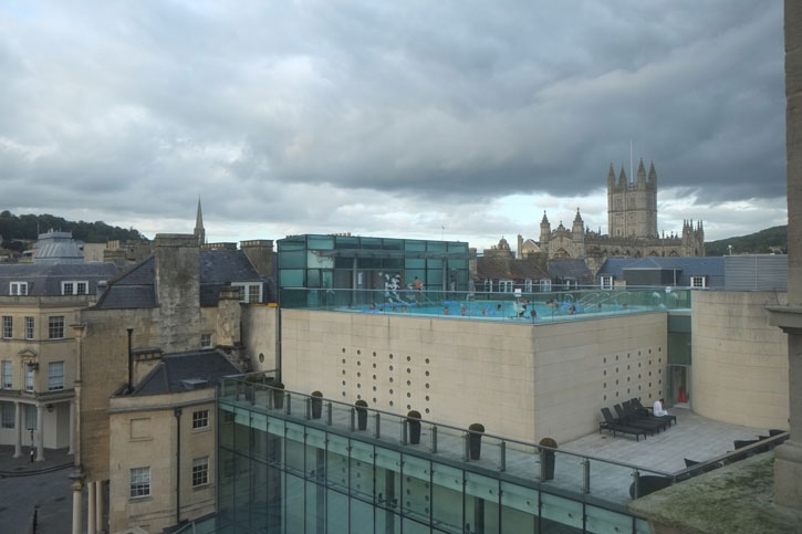 The Open Air pool of the Thermae Bath Spa. Image taken from the Gainsborough Bath Spa.