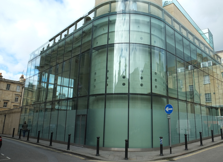 The glass cladding of the Thermae Bath Spa. This is most unusual for Bath.