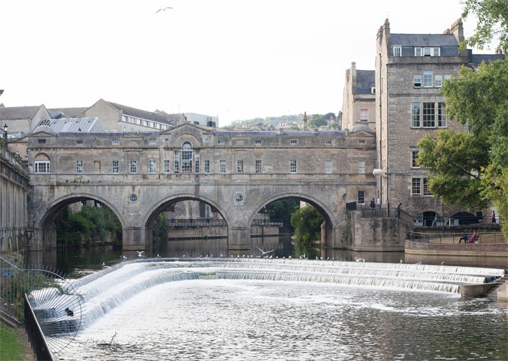 Pulteney Bridge is unique as it is only one of 2 in the world. There are only 2 bridges which have shops on the structure.