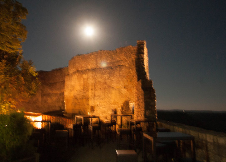 A moonlight view of one of the walls of Neuffen Castle.