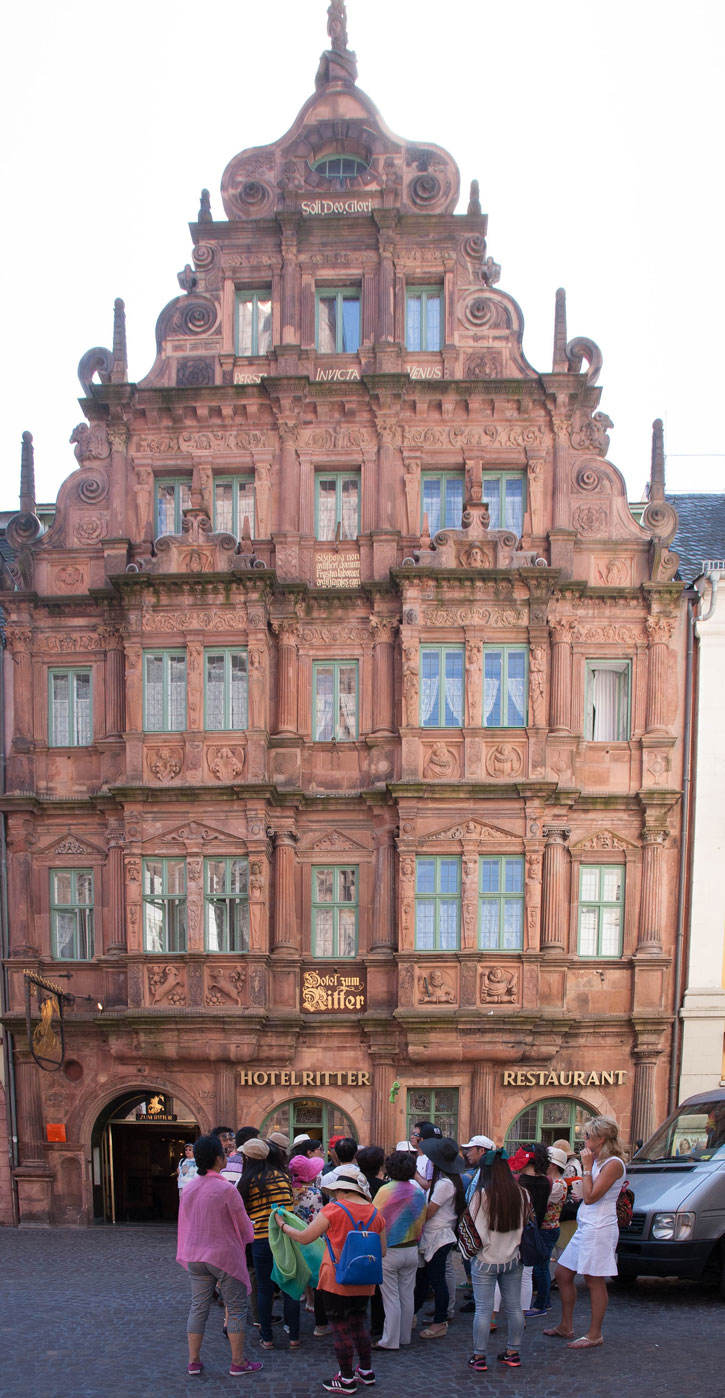 The front of the Hotel zum Ritter. There are always groups of tourist stopping in front of the building with the guide explaining the history. Of course, there are numerous photos of taken of the façade of this building.