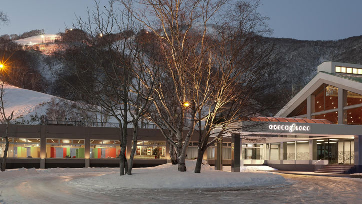 An evening view of GreenLeaf Hotel in Niseko Village