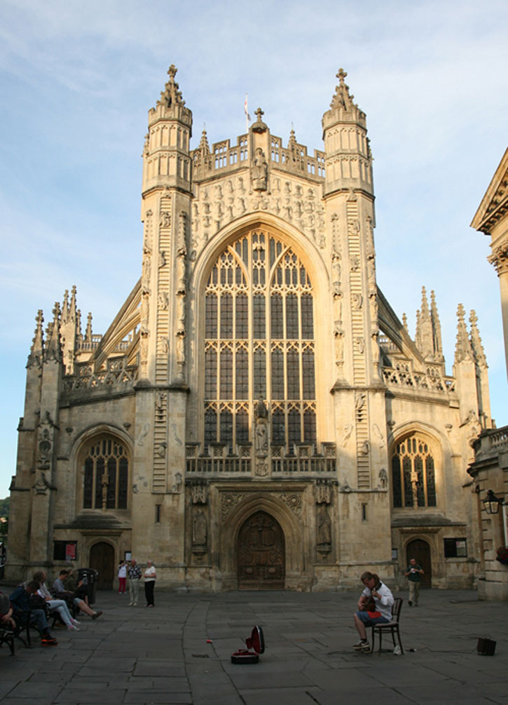 The West Wall of Bath Abbey. The carvings in stone are all stories which are decoded by the Guides in the Walking Tour of Bath.