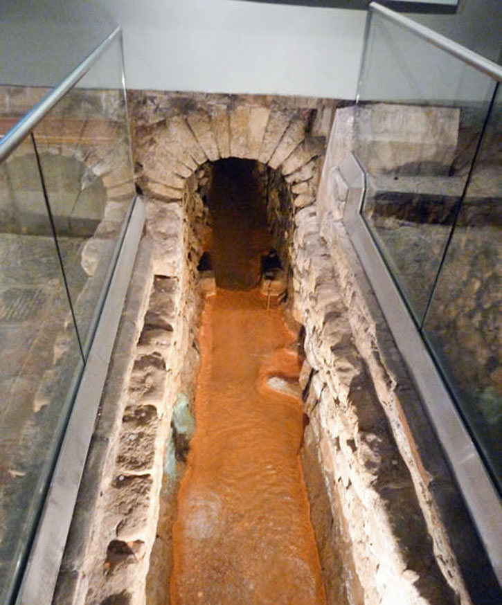 "Roman Baths of the City of Bath: The original ""channel"" bringing the natural spring water into the pool."
