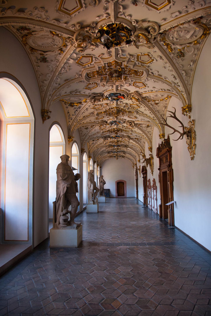 One of the restored corridors of the Heidelberg Castle. This shows the attention to detail and high standard of the fittings and statues.