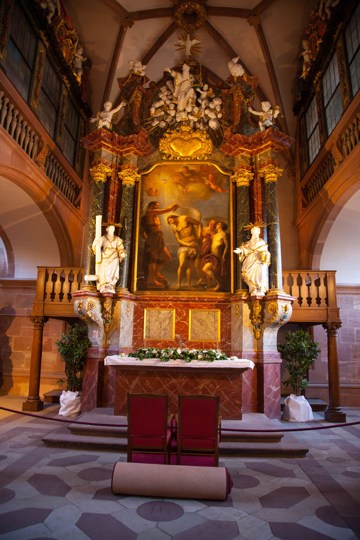The restored chapel in Heidelberg Castle. It is beautiful but yet plain and simple.